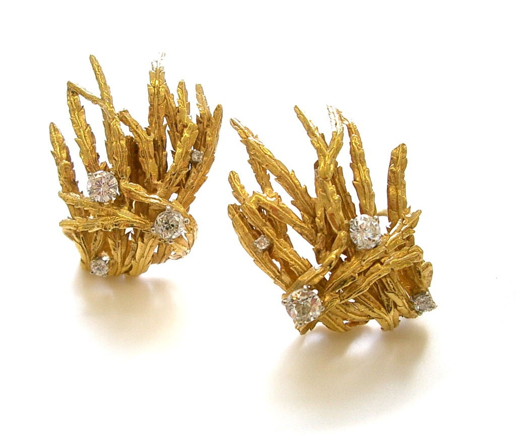 Women's MARIANNE OSTIER Gold Emerald and Diamond Brooch/Ear Clips  For Sale