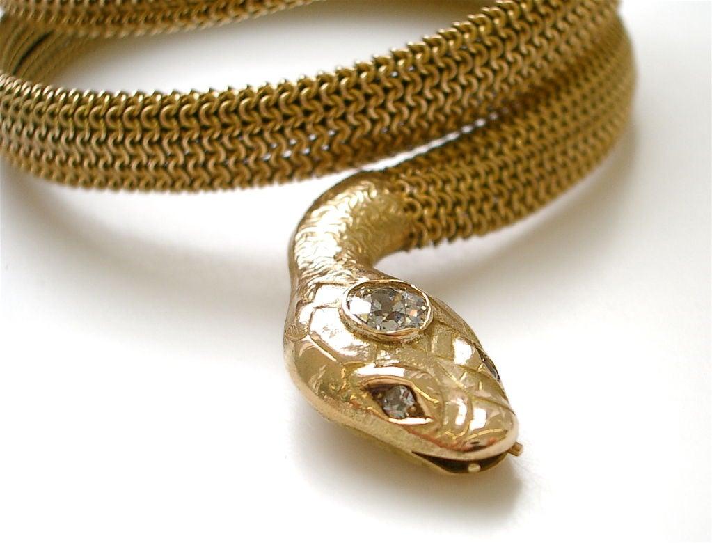 Gold and Diamond Snake Bracelet at 1stdibs