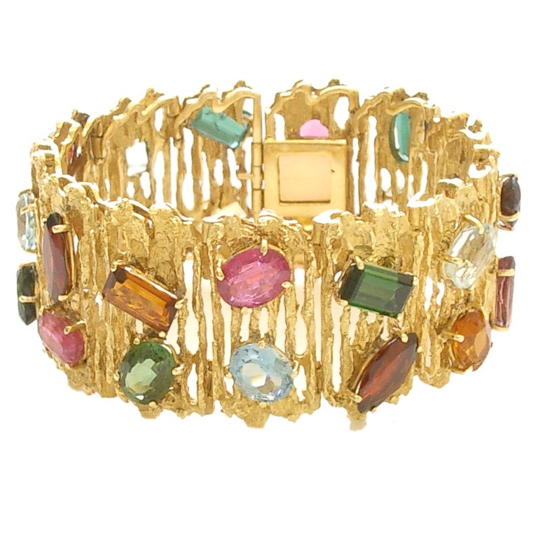 Gold and Multi-colored Stone Bracelet by H. Stern