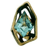 Gold and Aquamarine Ring by Grabowski c1960