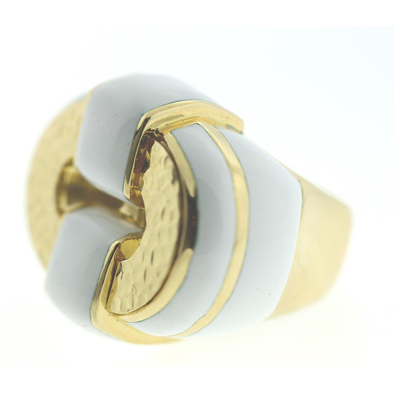 david webb snow white enamel ring at 1stdibs