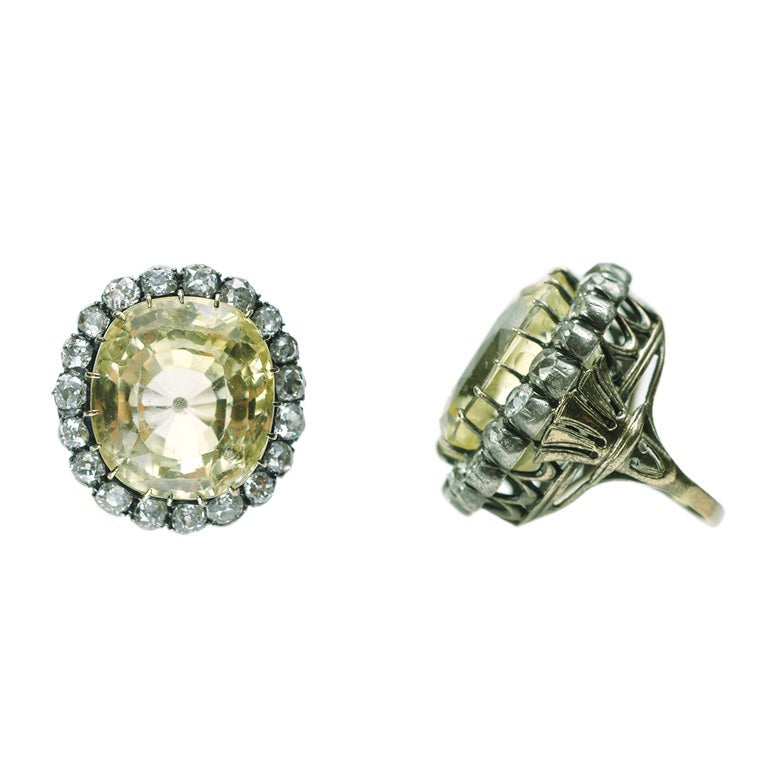 antique yellow sapphire and cluster ring at 1stdibs