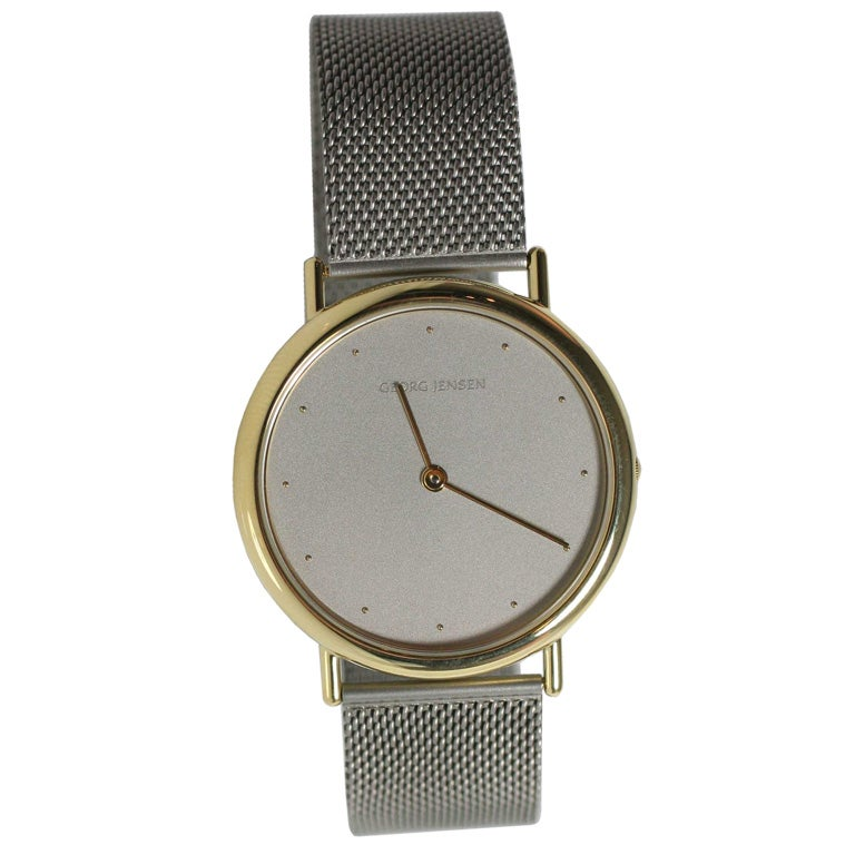 Georg Jensen 18Kt gold and stainless watch #1347 at 1stdibs