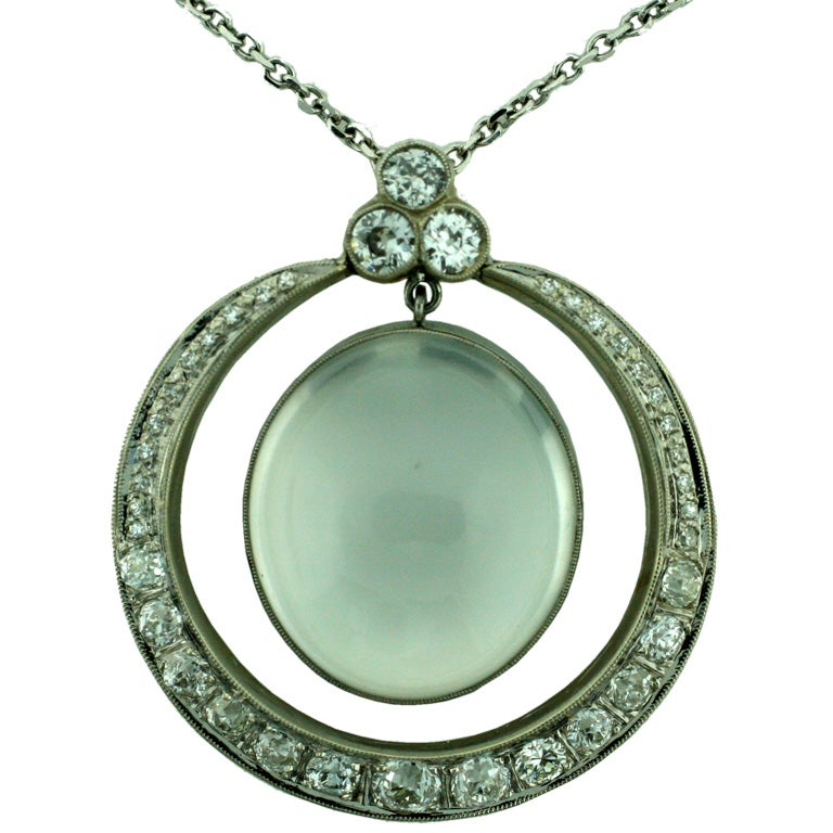 moonstone and platinum pendant necklace at 1stdibs