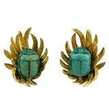David Webb Scarab Earrings in 18K Yellow Gold