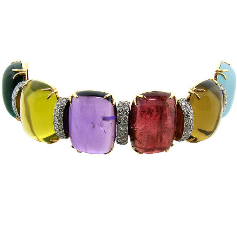 18K Yellow Gold in Diamond and Assorted Cabachon Stones 500 cttw 1