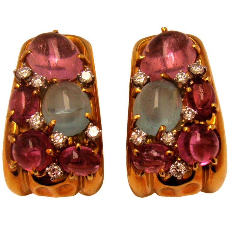 """Clunn"" 18K Gold Earrings w Diamond, Aquamarine, Pink Tourmaline 1"