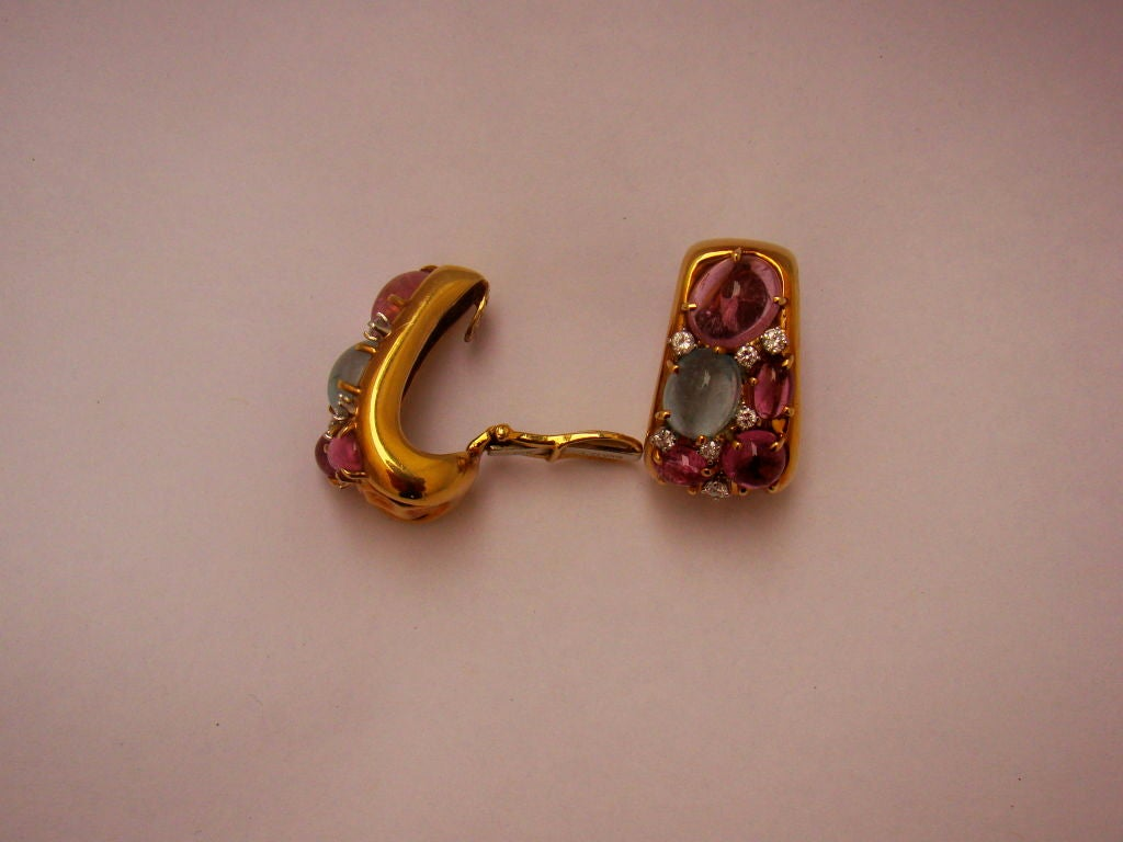 """Clunn"" 18K Gold Earrings w Diamond, Aquamarine, Pink Tourmaline 2"