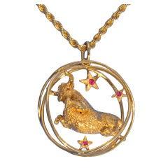 """William Ruser"" Taurus 14K Yellow Gold Pendant Necklace w/ Ruby"