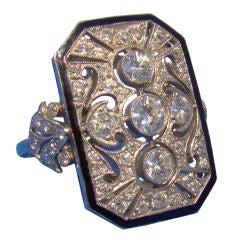 Handmade Deco Style Plaque Ring in Platinum, Enamel, & Diamond