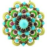 1950's Diamond, Turquoise, Ruby & Enamel Handmade Brooch
