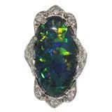 Black Opal in Platinum Art Deco Ring circa 1925