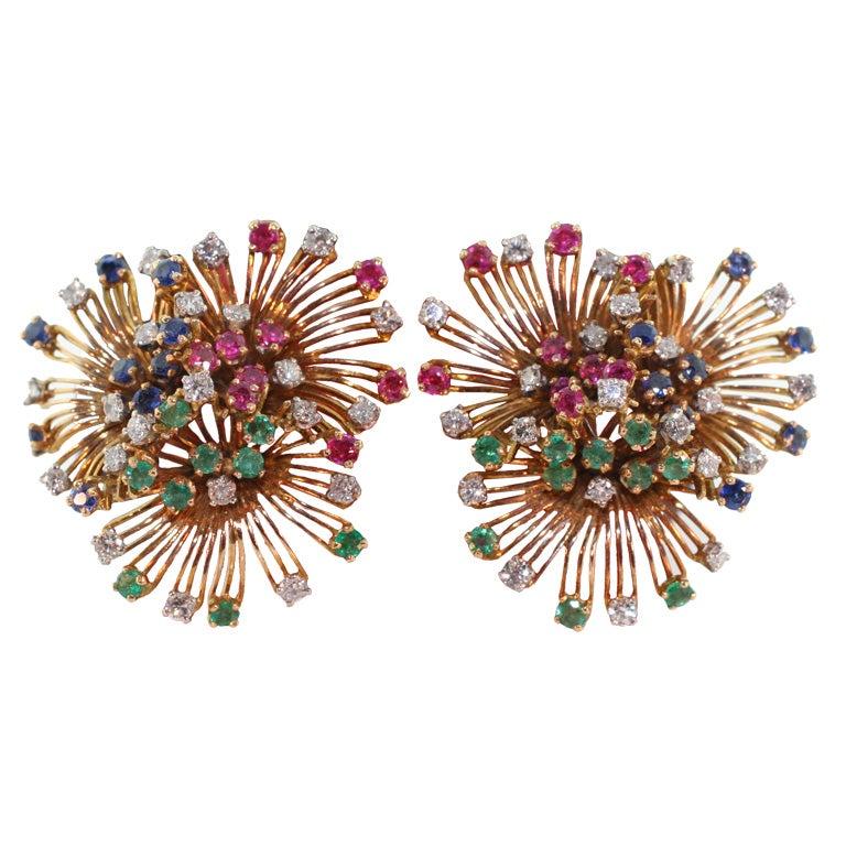 Multi Stone StarBurst Earrings w Ruby, Sapphire, & Emerald-18K For Sale