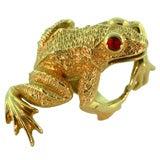 Frog Ring Ruby Eyes & 18K Yellow Gold