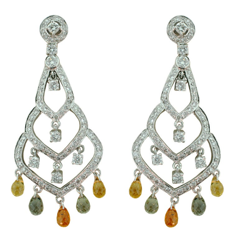 b2a22b8e05cf8c Briolette Multi-Color Sapphire and Diamond Earrings in White Gold at ...