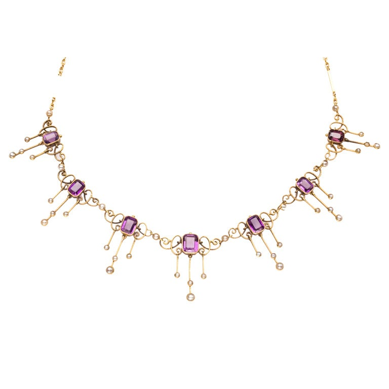 Amethyst and Pearl Arts and Crafts Period Necklace 1
