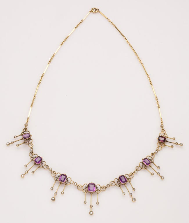 Amethyst and Pearl Arts and Crafts Period Necklace 3