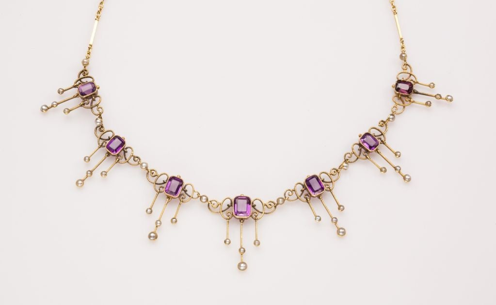 Amethyst and Pearl Arts and Crafts Period Necklace 2