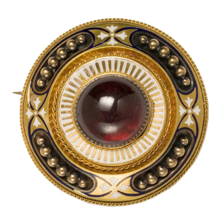 Victorian Etruscan Revival  Gold Garnet Enamel Brooch For Sale