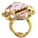 Gold, Diamond and Munsteiner Cut Morganite Mermaid Ring