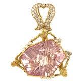 Gold, Diamond and Munsteiner Cut Morganite Mermaid Pendant