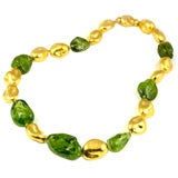 24KT Handmade Gold Bead and Peridot Bead Necklace