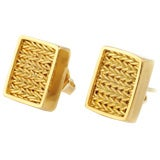 Julius Cohen Handwoven 22 Karat Gold Earrings