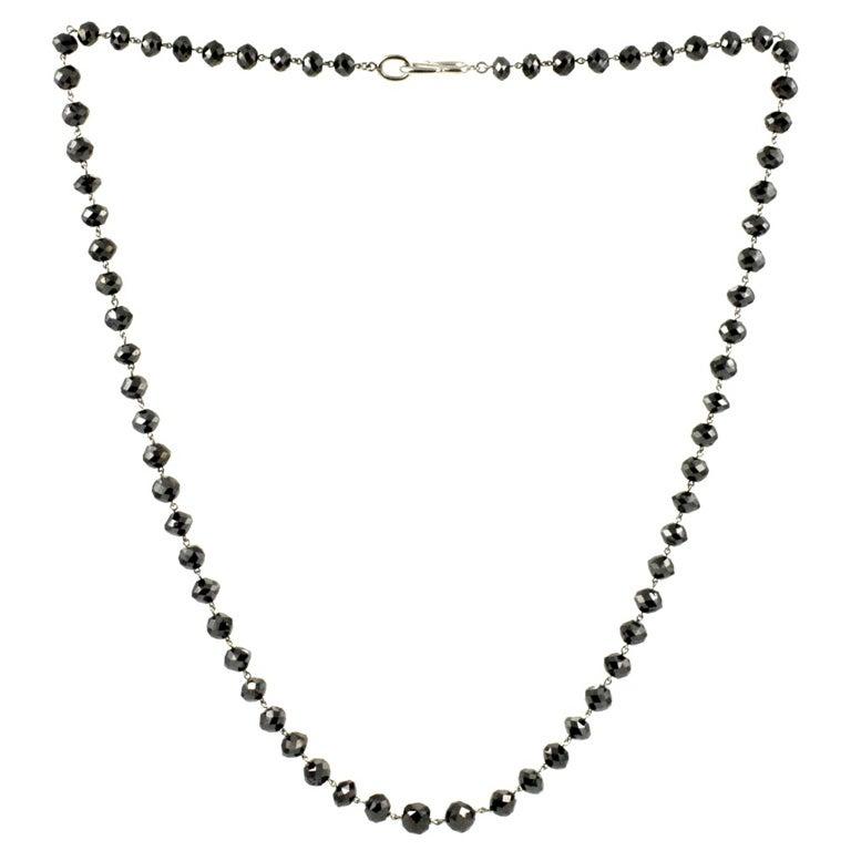 Platinum and Black Diamond Bead Necklace at 1stdibs