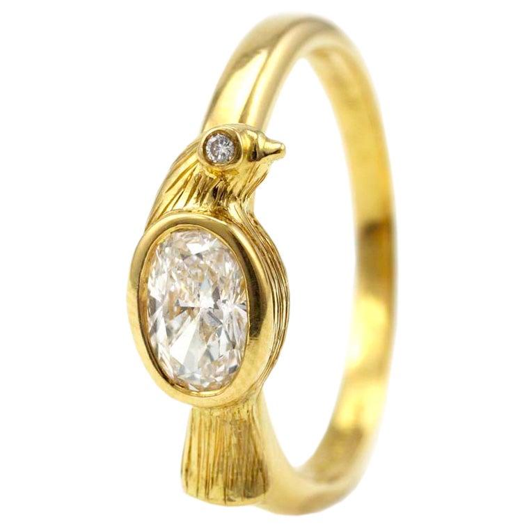 Diamond Gold Bird Ring