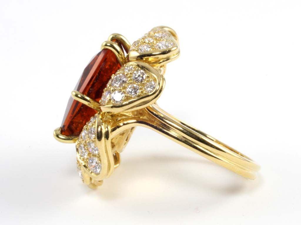 18kt Gold Diamond and Munsteiner Cut Citrine Flower Ring at 1stdibs