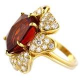 18kt Gold, Diamond and Munsteiner Cut Citrine Flower Ring