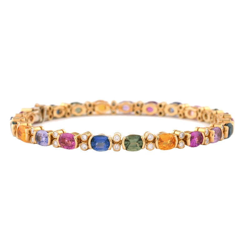 Julius Cohen 18kt Gold, Diamond and Multi-Color Sapphire Bracelet