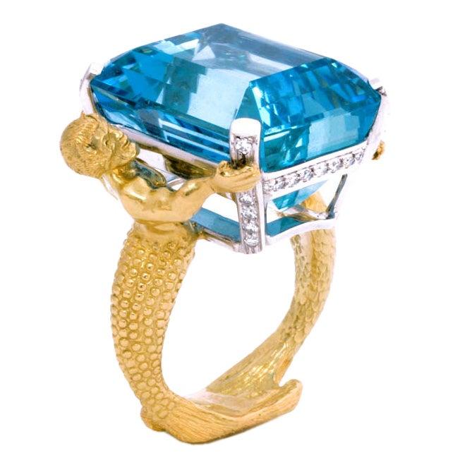 18kt Gold, Platinum, Diamond and Aquamarine Mermaid Ring