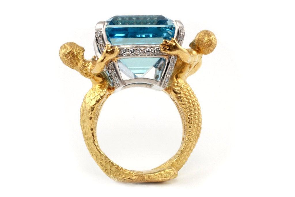18kt Gold, Platinum, Diamond and Aquamarine Mermaid Ring image 7