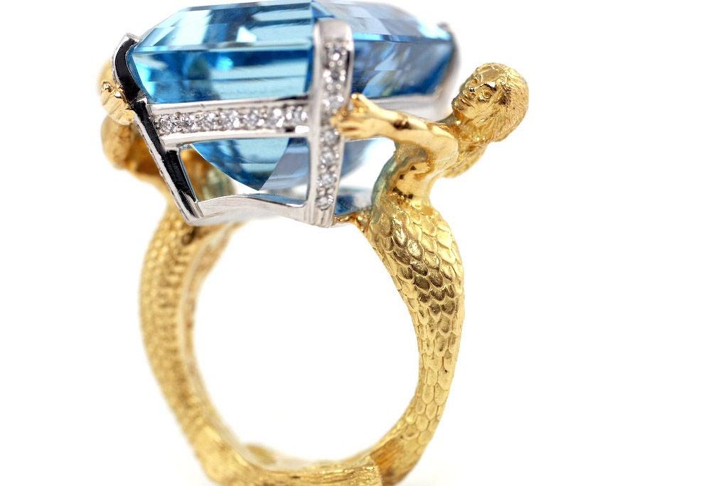 18kt Gold, Platinum, Diamond and Aquamarine Mermaid Ring image 4