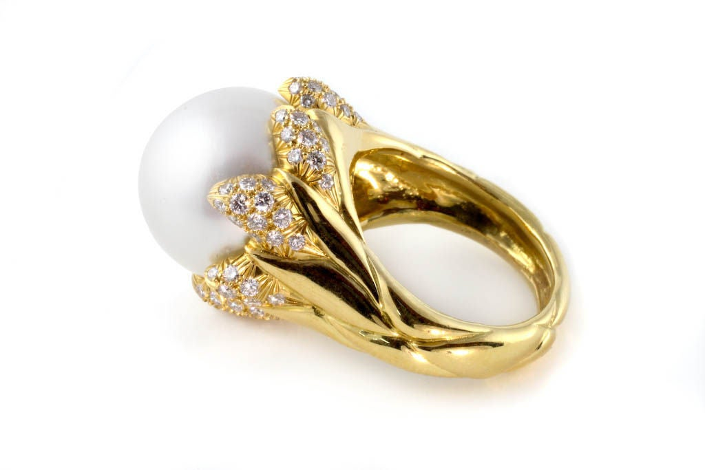 18kt gold and pearl ring at 1stdibs