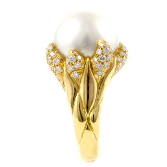 Julius Cohen Pearl and Diamond Flame RIng