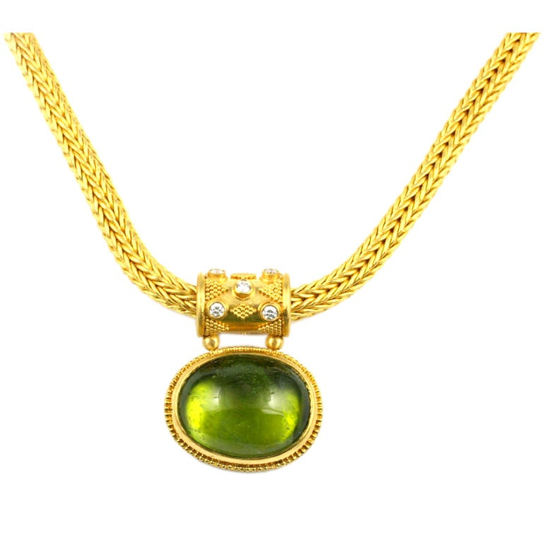 22kt Gold, Diamond and Peridot Pendant with 22kt Gold ...