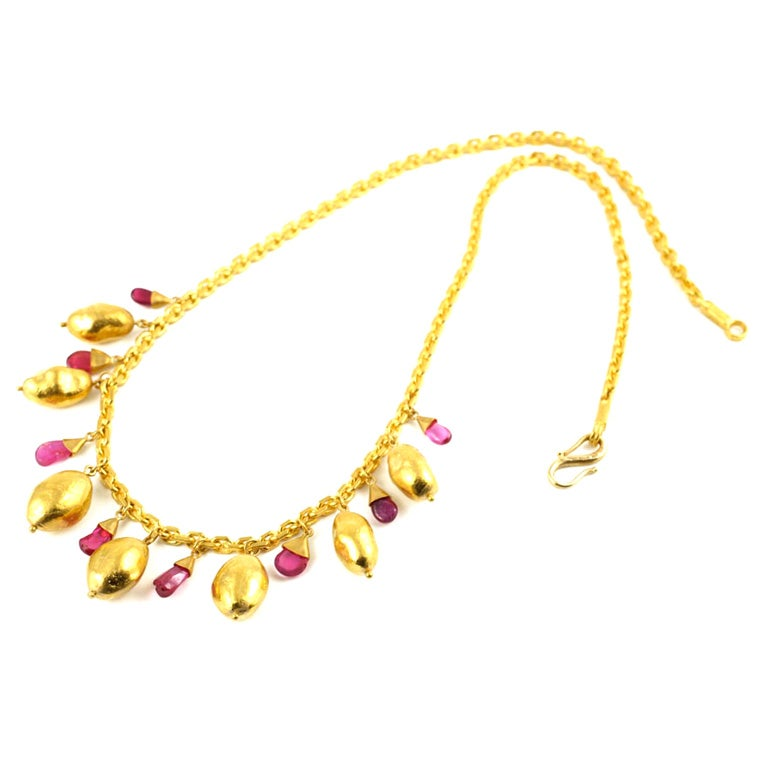24kt Gold Chain With 22kt Gold Bead And Ruby Drop Necklace