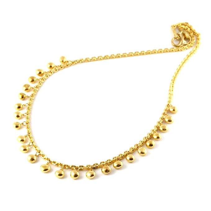 24kt gold bead and chain necklace at 1stdibs
