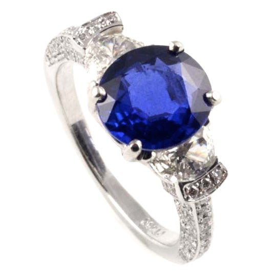 platinum sapphire and ring at 1stdibs