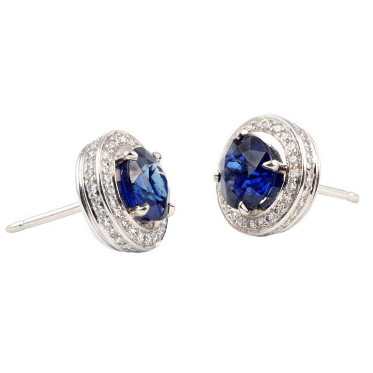 Platinum and Sapphire and Diamond Earrings at 1stdibs