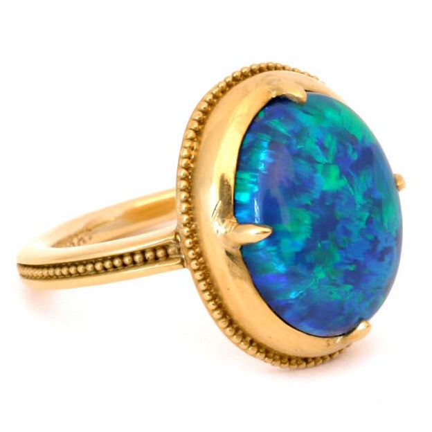22kt gold and black opal ring at 1stdibs