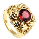 18KT Gold, Spinel and Diamond Ring