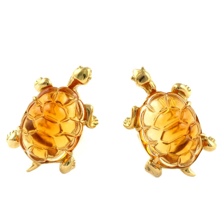 18kt gold and citrine turtle earrings at 1stdibs