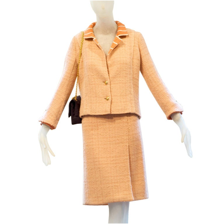 Late 1950s Coco Chanel Haute Couture Tweed And Jersey