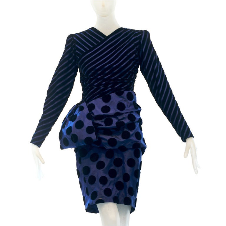 1980s Givenchy Haute Couture Op Art Dress In Velvet And