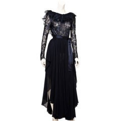 Carolyn Roehm two piece lace and chiffon evening ensemble