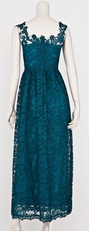 teal blue guipure lace dress at 1stdibs