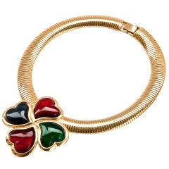 """Poured glass """"Hearts"""" necklace attributed to YSL"""